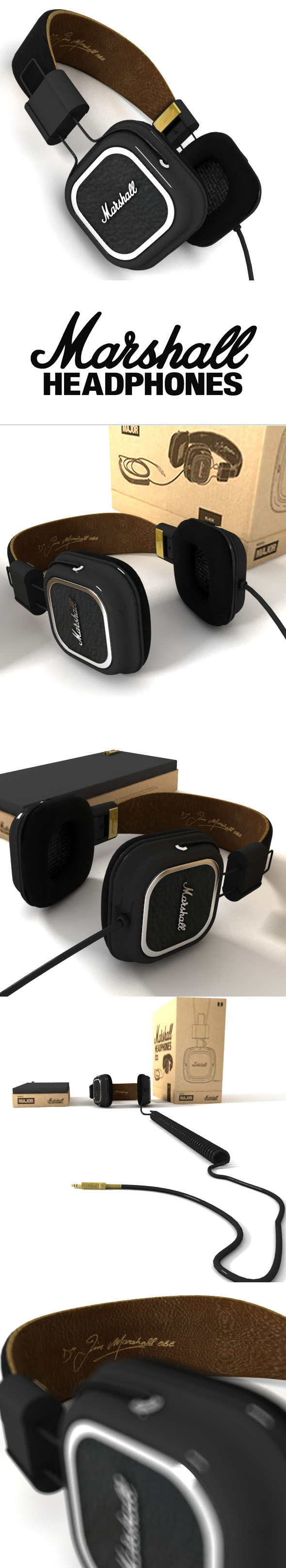 Marshall Headphones Major - 3DOcean Item for Sale