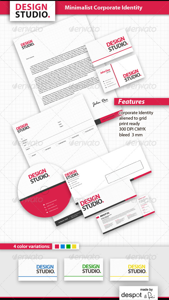 Minimalist Corporate Identity - Stationery Print Templates