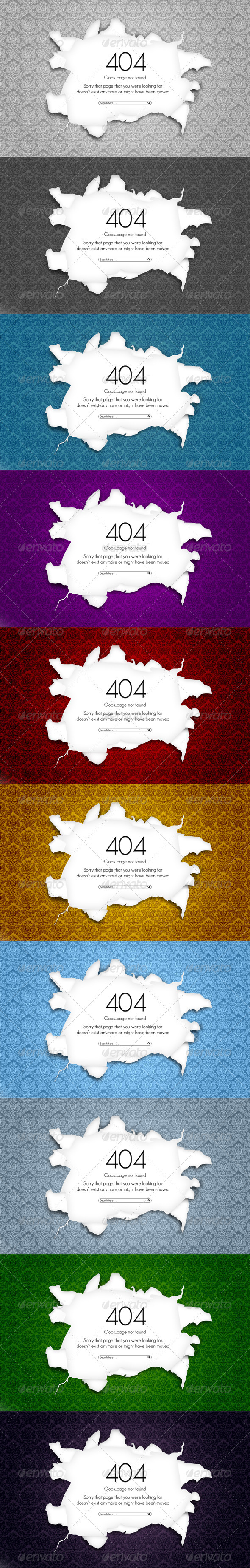 404 Torn Wallpaper - 404 Pages Web Elements