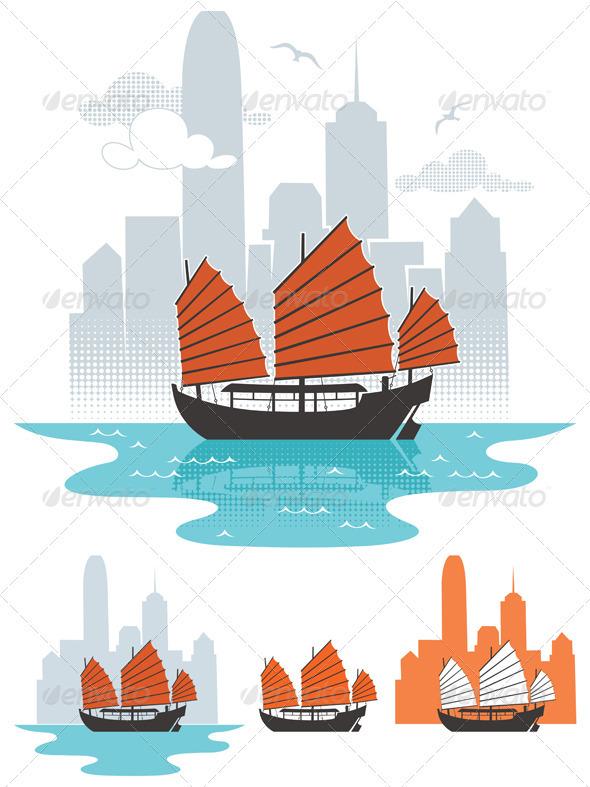 Hong Kong Boat - Travel Conceptual