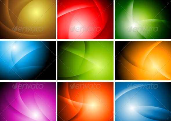 Bright Abstract Wavy Backgrounds - Vector - Backgrounds Decorative