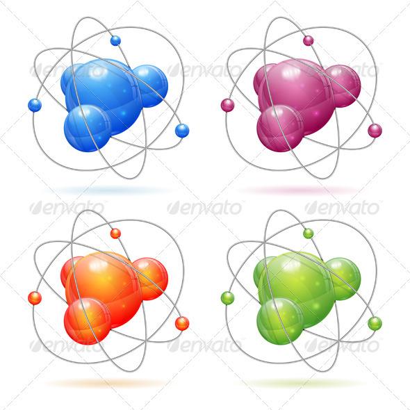 Set of Atom Models - Health/Medicine Conceptual