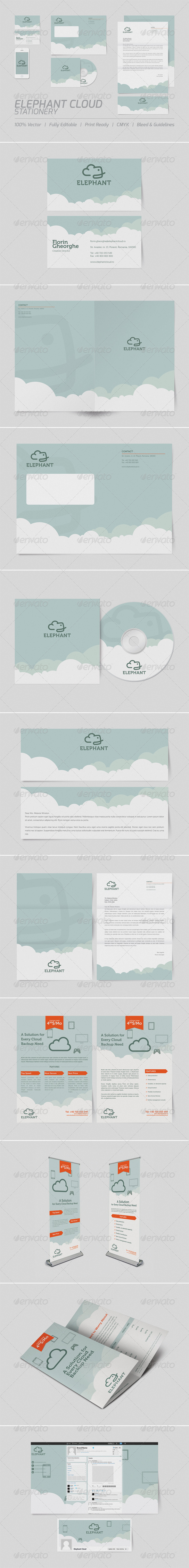 Elephant Cloud Stationery - Stationery Print Templates