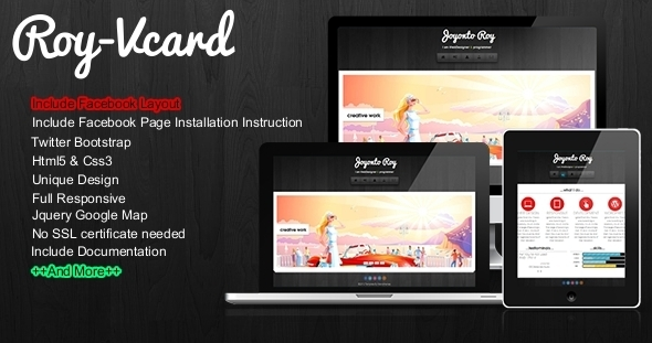 Roy - Responsive Vcard With Facebook Layout - Virtual Business Card Personal