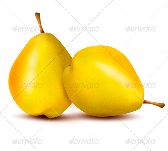 Two Ripe Pears - Vector - Food Objects