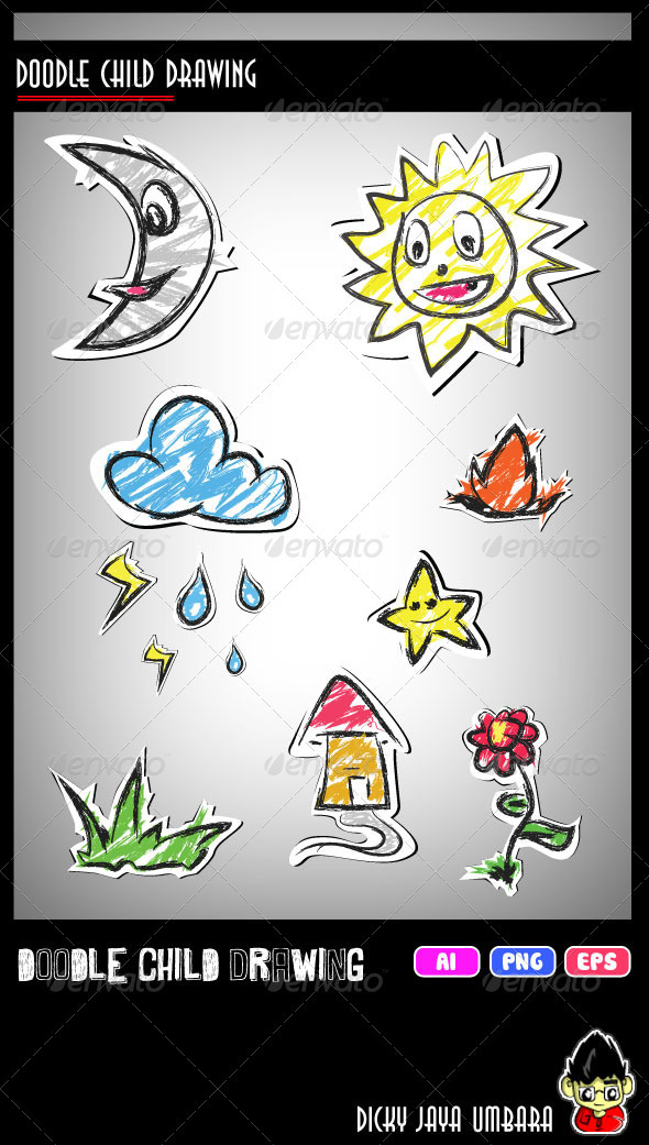 Doodle Child Drawing - Decorative Symbols Decorative