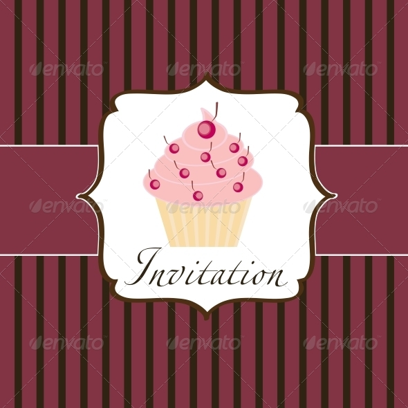 Cupcake Invitation Background - Birthdays Seasons/Holidays