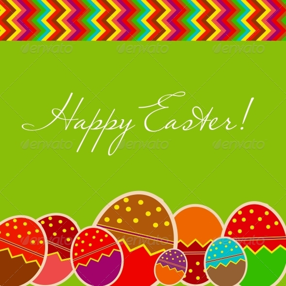 Easter Eggs Card with Colourful Eggs - Miscellaneous Seasons/Holidays