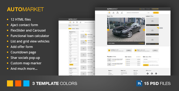Marketplace Website Template. automarket html vehicle marketplace ...
