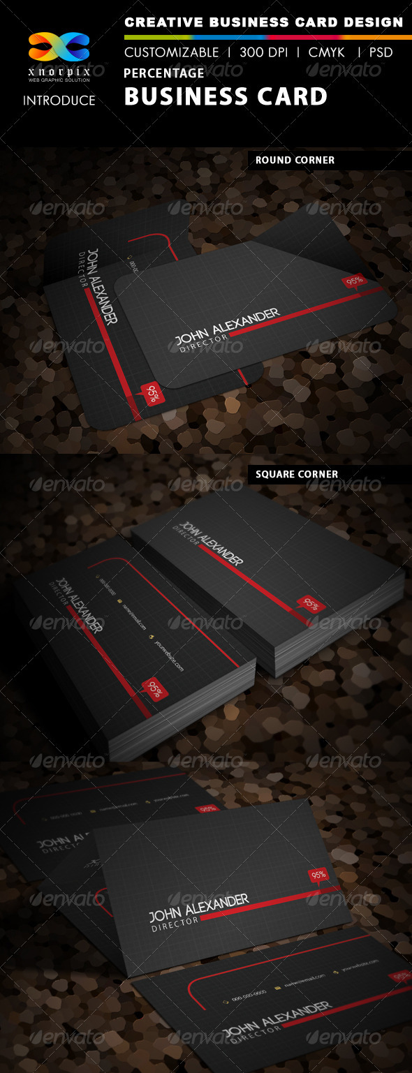Percenage Business Card - Corporate Business Cards