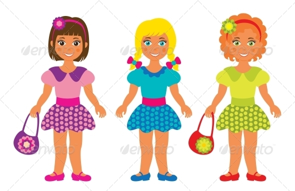 Three Little Girls - People Characters