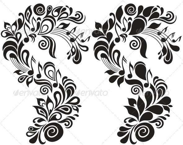 Decorative Musical Floral Theme - Decorative Symbols Decorative