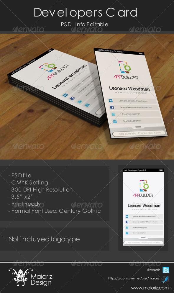 Developer Business Card by maioriz | GraphicRiver