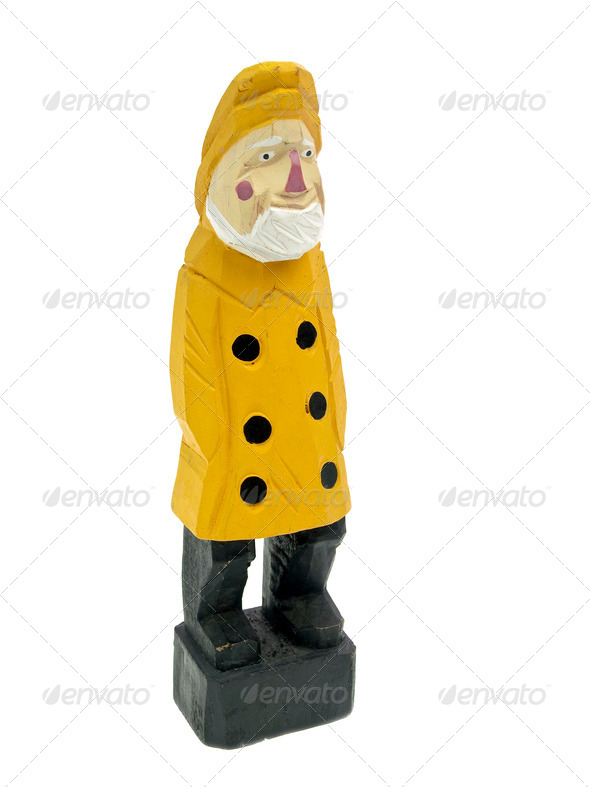 Old fisherman statuette 3/4 view - Stock Photo - Images