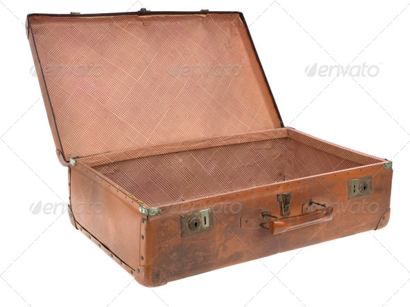 Old empty luggage open 3/4 view - Stock Photo - Images