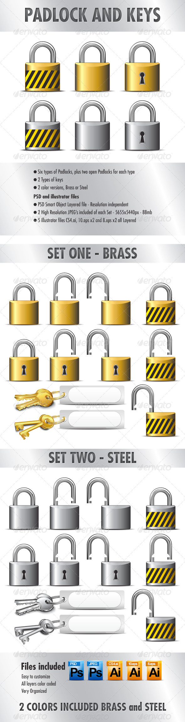 Padlocks and Keys - in Brass and Steel - Web Elements Vectors