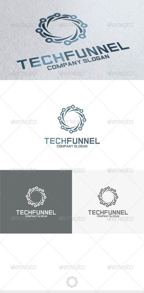 Tech Funnel Logo - Vector Abstract