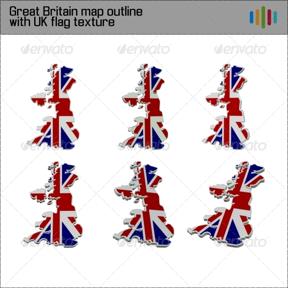 Great Britain Flag Map 3D - Miscellaneous 3D Renders