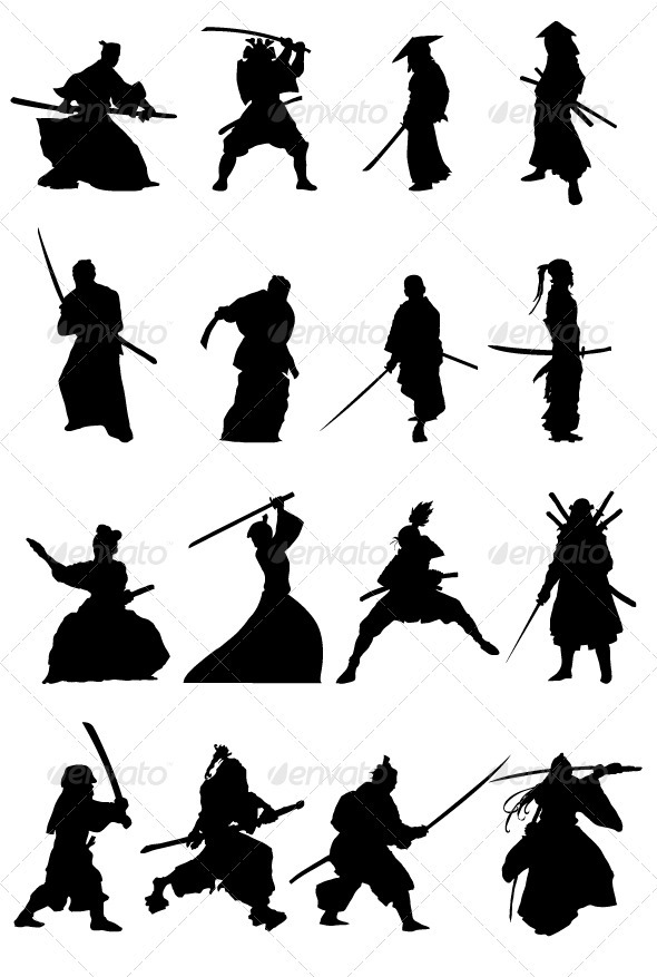 Samurai Silhouettes Set - People Characters
