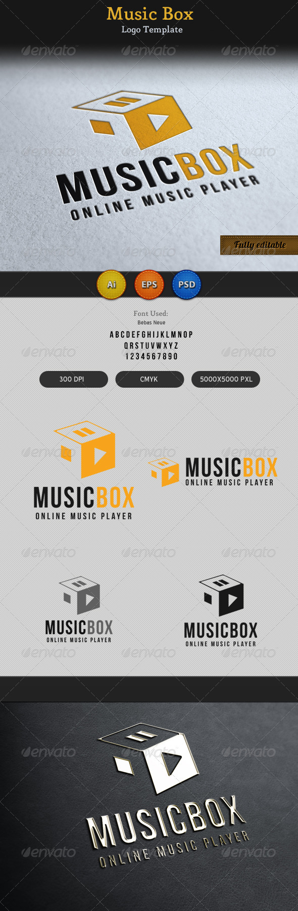 Music Song Play Box Logo  - Vector Abstract
