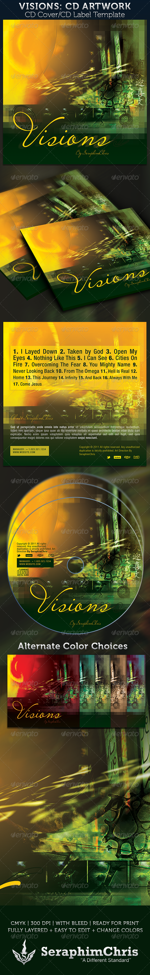 Visions CD Cover Artwork Template - CD & DVD Artwork Print Templates