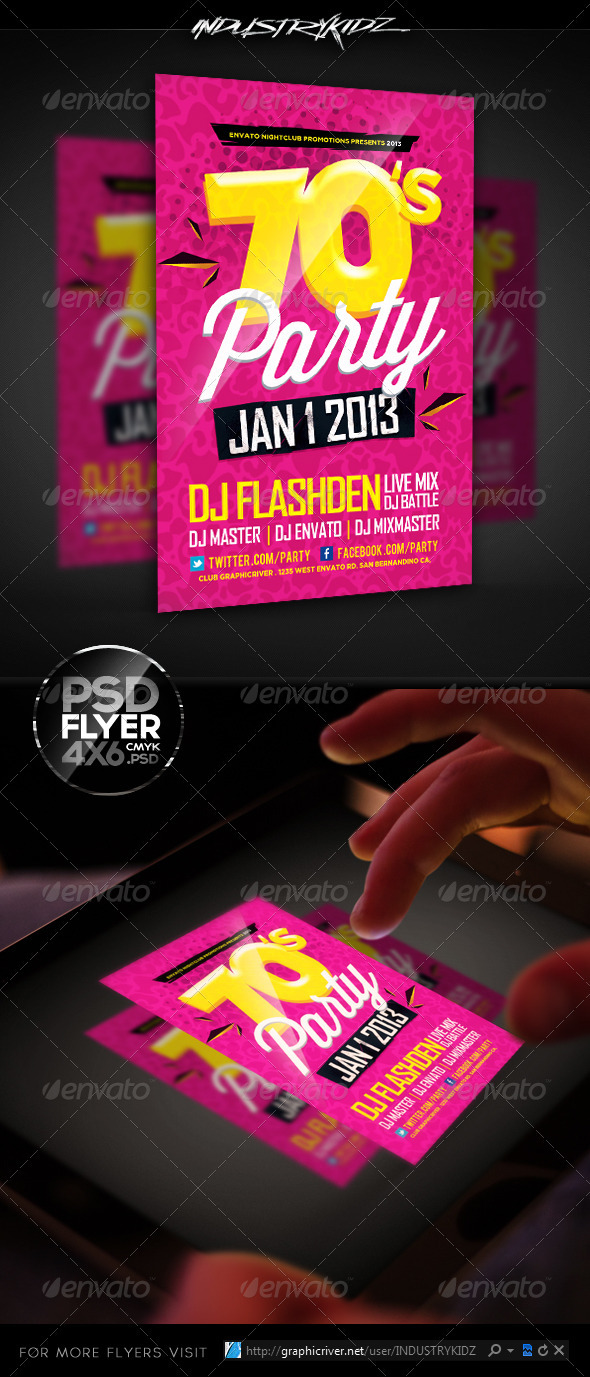 Retro Theme Party Flyer Template   Events Flyers. Retro Theme Party Flyer Template by INDUSTRYKIDZ   GraphicRiver