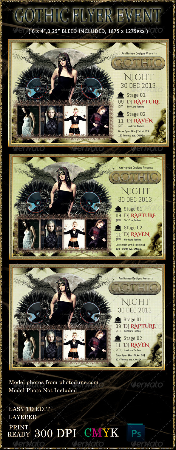 Dark Gothic Flyer Event Template - Clubs & Parties Events