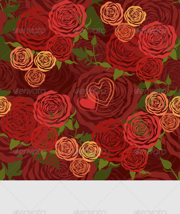 Vector Floral Seamless Pattern with Flower Roses - Patterns Decorative