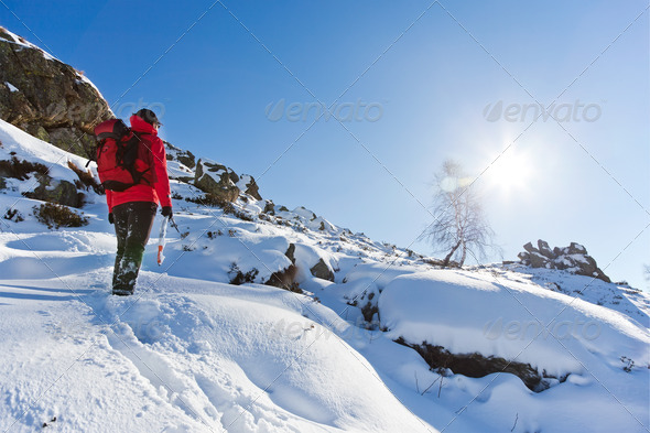 Winter Hiking - Stock Photo - Images