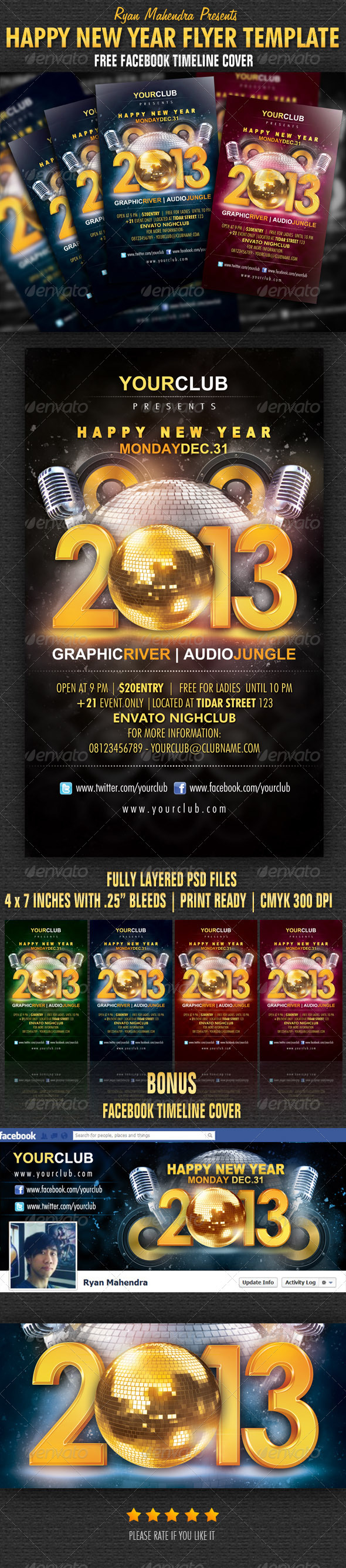 Happy New Year Flyer Template - Flyers Print Templates