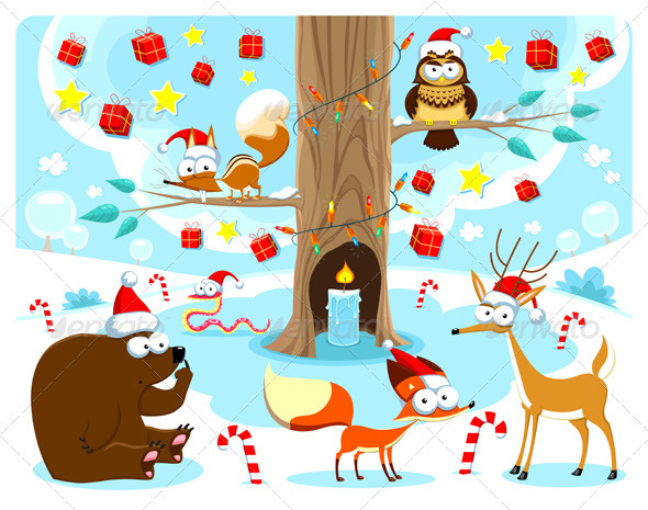 Christmas in the Woods - Animals Characters