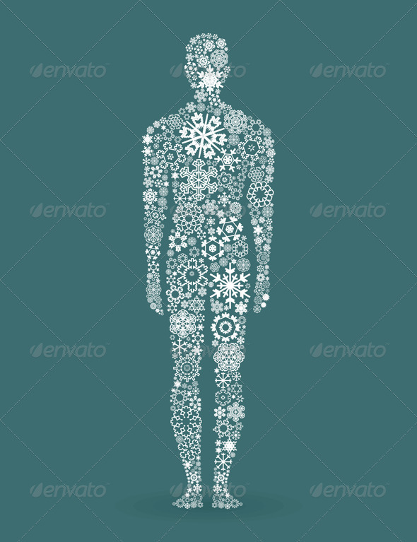 Person Made of Snowflake Elements - People Characters