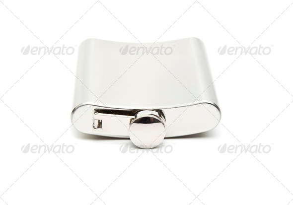 front view of metallic flask on white background - Stock Photo - Images