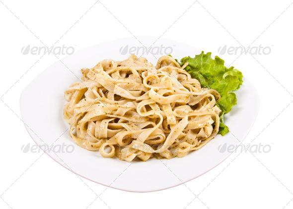 Tagliatelle pasta with pesto - Stock Photo - Images