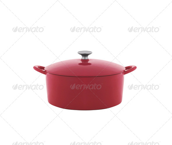 Red saucepan isolated on white background - Stock Photo - Images