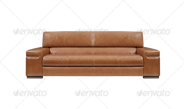 brown leather sofa isolated - Stock Photo - Images