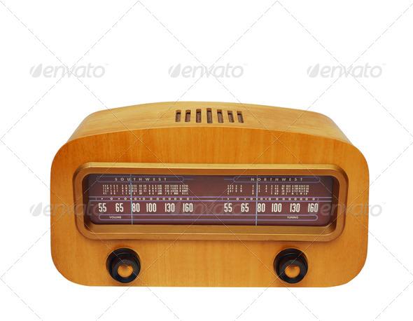 Vintage wooden fashioned radio - Stock Photo - Images