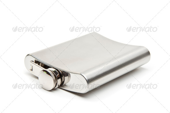 Stainless hip flask with pattern isolated on white background - Stock Photo - Images