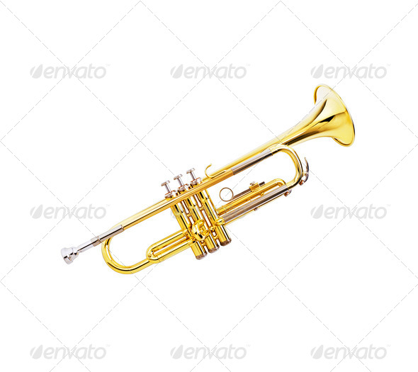gold lacquer trumpet - Stock Photo - Images