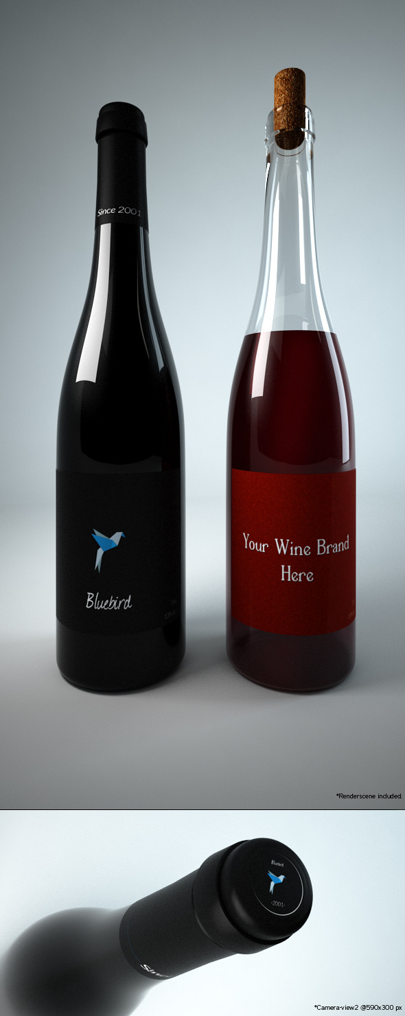 Photoreal Wine Bottles -Type1- - 3DOcean Item for Sale