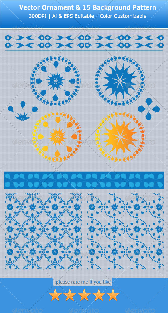 Vector Ornamental Pack & 15 Pattern Swatches - Flourishes / Swirls Decorative