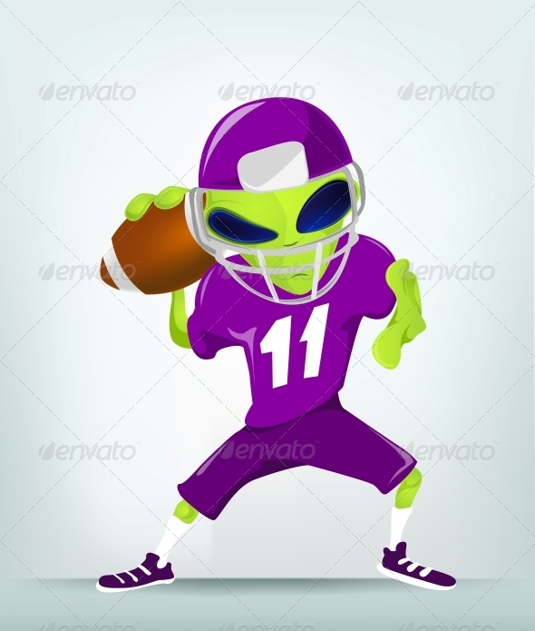 Cartoon Character Alien -  Rugby - Monsters Characters