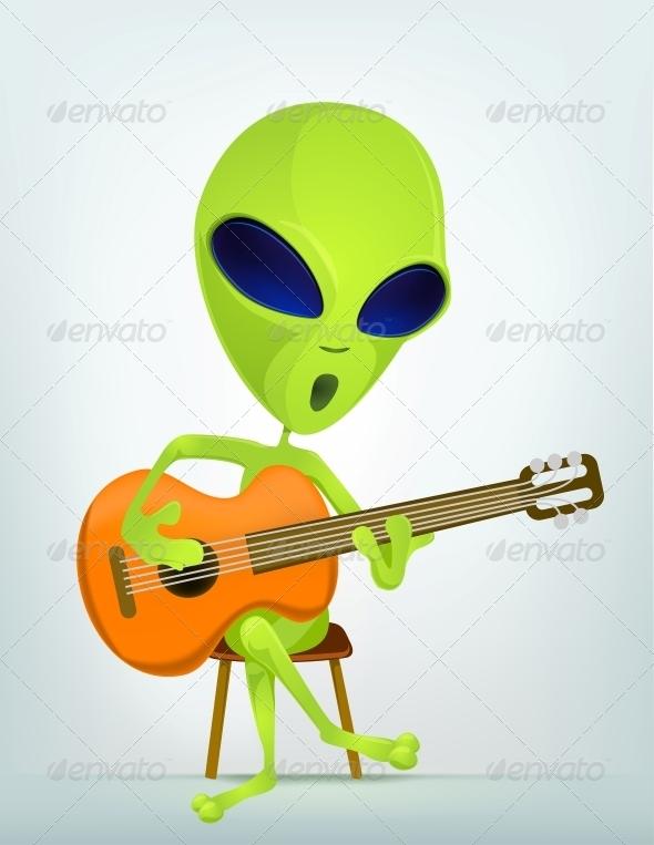 Cartoon Character Alien - Guitarist - Monsters Characters