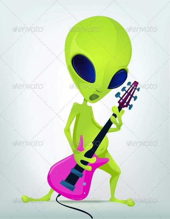 Cartoon Character Alien - Rock Star - Monsters Characters