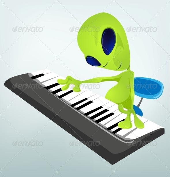 Cartoon Character Alien - Pianist - Monsters Characters