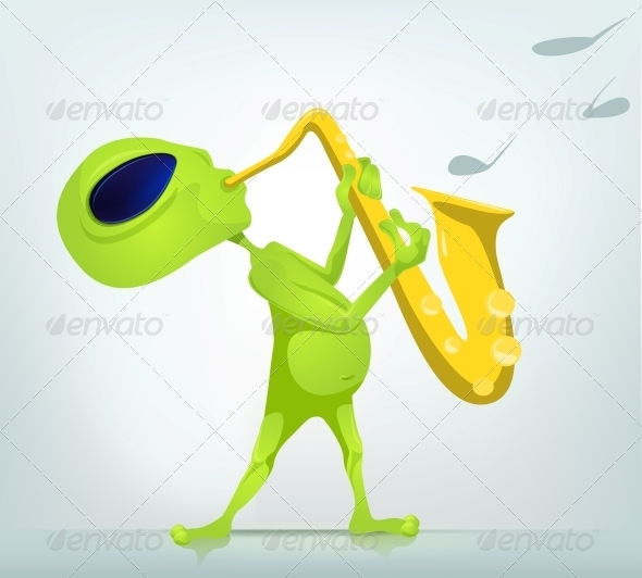 Cartoon Character Alien - Saxophonist - Monsters Characters