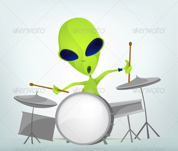 Cartoon Character Alien - Drummer - Monsters Characters