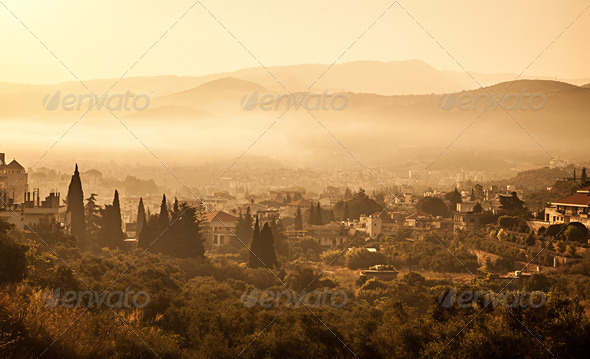 Village in mountains - Stock Photo - Images