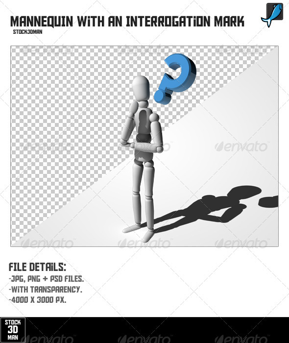 Mannequin With An Interrogation Mark - Characters 3D Renders