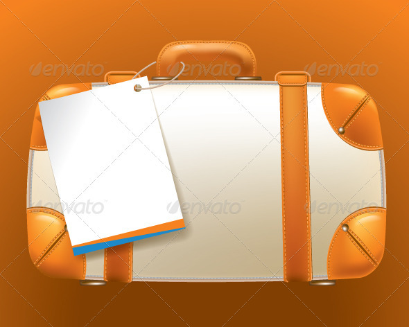 Brown Suitcase with an Empty Ticket Form - Man-made Objects Objects